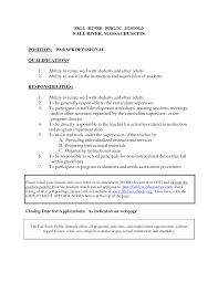 Paraprofessional Job Description For Resume Resumes New Special