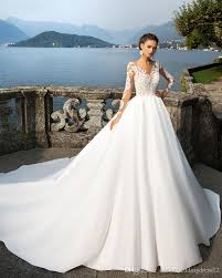 Sexy Boat Neck Royal Train 2017 Princess A Line Wedding Dress 2018 Luxury Appliques Beads Full Sleeve Vestido De Noiva Wedding Gown