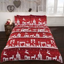 details about red white xmas reindeer duvet cover bed set single double king
