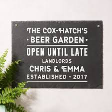 personalised beer garden slate sign on personalised metal wall art uk with garden wall art decor and ornaments notonthehighstreet