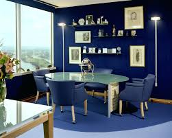 oval office layout. Appealing Small Home Office Interior With Orange Wall Paint And Oval Table Layout Shape