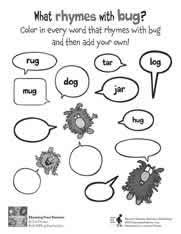 Small Picture Rhyming Dust Bunnies printable coloring writing worksheet