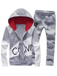 Hoodies Gray L Graphic Print Color Block Panel Hoodie And Pants