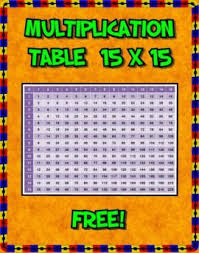 Multiplication Chart 15x15 Multiplication Chart Math