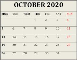 Free Printable October 2020 Calendar Desktop Wallpaper
