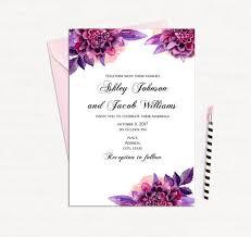 Wedding Invitations Templates Purple Purple Floral Invitation Template Wedding Invitation Printable Etsy