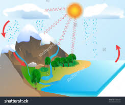 stock images similar to id    water cyclewater cycle diagram  the sun  which drives the water cycle  heats water in