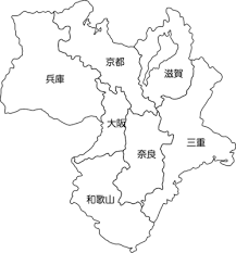 白地図近畿地方のイラスト都道府県名入り イラストストック