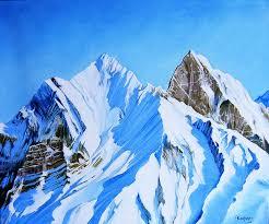 snowy mountain painting snowy mountain fine art print