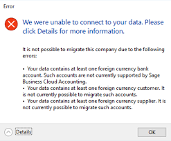 Incomplete Chart Of Accounts Sage Migration Tool Error Messages