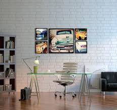 decor office ideas. Stunning Glass Office Desk And Art Deco Painting Decoration Idea In White Brick Wall Ideas Decor O