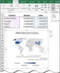 Add Map Chart To Excel 2016 New Mapping Tools On Excel 2016 Journal Of Accountancy