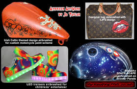 airbrushed designs custom painted by top uk airbrush artist jo taylor on led trainers spirals stars