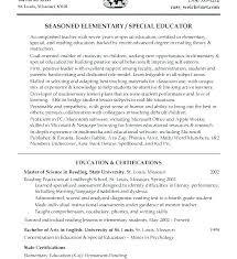 Special Ed Teacher Resume Best Sample Resume For Special Education Teacher Example Format Resume