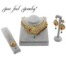 just feel india kundan gold color jewelry sets crystal choker necklace earring headdress sets for women