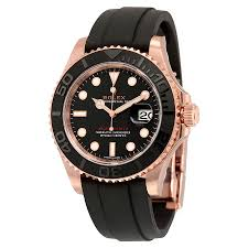 rolex yacht master automatic black dial 18kt everose gold black rolex yacht master automatic black dial 18kt everose gold black rubber strap men s watch 116655bksrs