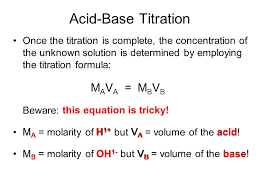 Titration Formula Acid Base Titration Acid Base Titration Is A Laboratory Procedure