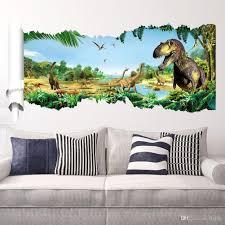Cartoon 3D Dinosaur Wall Sticker For Boys Room Child Art Decor Pertaining  To Dinosaur Wall Art