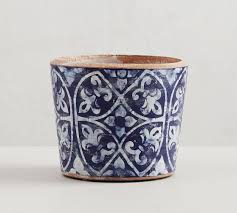 hand painted patterned ceramic planters