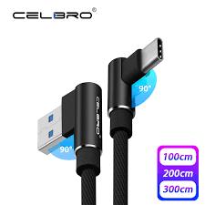3A 90 derece USB tip C şarj kablosu hızlı şarj 3.0 QC3.0 cep telefonu Tipo  C USBC veri hızlı şarj kablosu 1/2/3 metre M uzun|Cep Telefonu Kabloları
