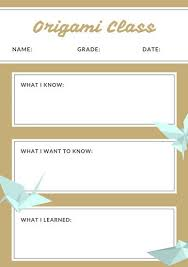 Brown Origami Kwl Chart Worksheet - Templates By Canva