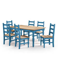blue dining room set. Manhattan Comfort Jay 7-Piece Blue Wash Solid Wood Dining Set With 6-Chairs Room L