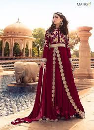 Front Open Salwar Designs Monumental Maroon Georgette Embroidered Designer Front Open