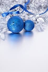 silver christmas decoration with blue baubles Free Photo