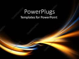 Blue And Gold Powerpoint Template Powerpoint Template Electric Blue And Gold Curves On Black