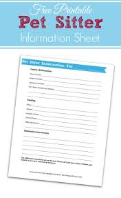 Pet Sitter Information Sheet Printable Retro Housewife Goes Green