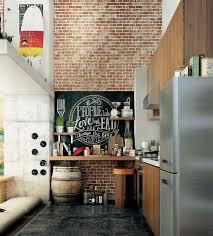 kitchen loft design ideas. spacious loft kitchen with brick wall design ideas n