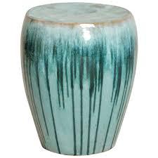 turquoise teal drip coastal beach simple ceramic garden seat stool kathy kuo home