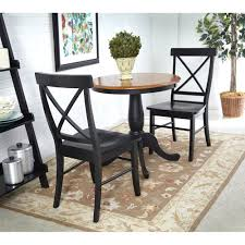 international concepts black and cherry 30 inch pedestal table with two x back chairs