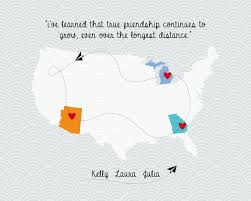 Quotes About Long Distance Friendship Long distance friendship love map family quote map wedding map guest book wedding 1000x100 in personalized 87