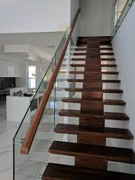 Staircase Side Railing Designs Side Mounted Internal Glass Balustrade With Timber Side Rail