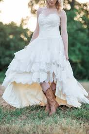 country wedding dress with lace high low hem the guinevere