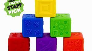 Stackable blocks that are soft, chewy, bouncy, textured, non-toxic,