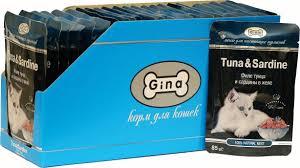 Корм влажный Gina для кошек, <b>филе</b> тунца и <b>сардины в</b> желе, 24 ...