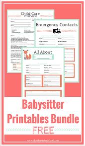 Short Notice Babysitter Free Babysitter Printables Bundle Best Of Blunders In Babyland
