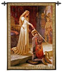 the accolade painting meval tapestry wall hanging knighting ceremony by leighton h53 x w42