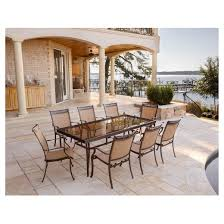 extra large dining set. fontana 9pc dining set with eight stationary chairs and an extra large glass top table - tan hanover r