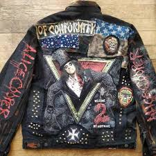 details about alice cooper rock punk distressed forgotten saints custom metal diy denim jacket