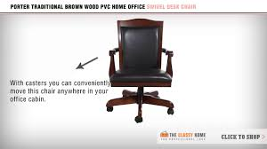pvc home office chair. Porter Traditional Brown Wood PVC Home Office Swivel Desk Chair By Signature Design Ashley Pvc