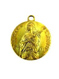 vintage saint maria goretti medal saint gerard majella brass medal catholic saint medal pendant