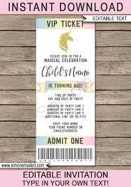 Unicorn Party Ticket Invitations Template Unicorn Theme Ticket Invite
