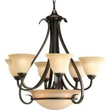 torino 6 light forged bronze chandelier with tea stained glass shade