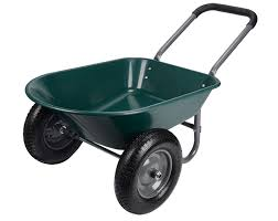 features two air filled 15 inchs rubber wheels 2 inches larger than conventional trolley wheels allowing you to steer the garden cart in various types