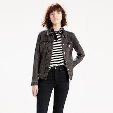 levi s mountain black boyfriend trucker jacket women s denim jacket larger image
