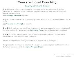 Conversation Partner Training Packet Honeycomb Speech Therapy