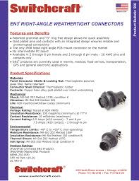 Switchcraft En3 Right Angle Weathertight Connectors